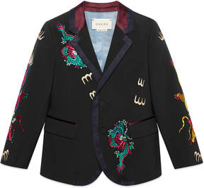 Children's twill jacket with dragon embroidery