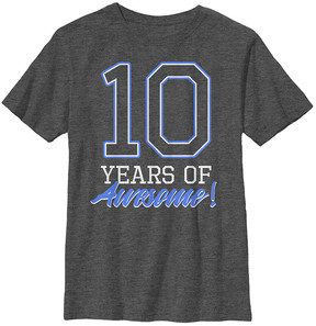 Fifth Sun Charcoal Heather '10 Years of Awesome!' Tee - Boys