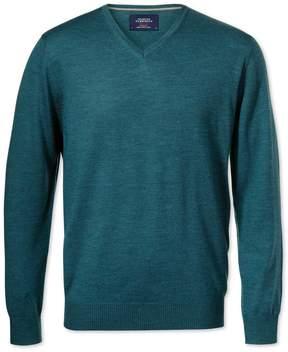Charles Tyrwhitt Teal Merino Wool V-Neck Sweater Size XS