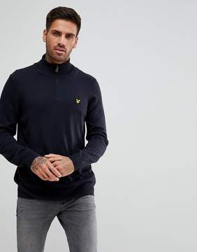 Lyle & Scott 1/4 Zip Sweater In Dark Navy