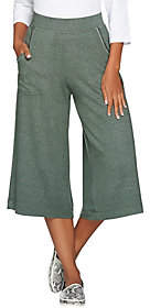 Peace Love World Heathered Knit Gaucho Pants w/Pockets