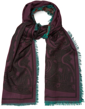 Etro Reversible wool and silk-blend scarf