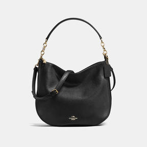 COACH CHELSEA HOBO 32 IN POLISHED PEBBLE LEATHER - LIGHT GOLD/BLACK
