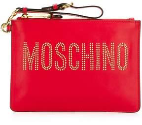 Moschino stud embellished logo clutch