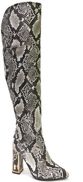 Bamboo Black Snakeskin-Embossed Illusion Over-the-Knee Boot