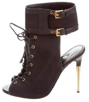 Tom Ford Leather-Trimmed Canvas Ankle Boots