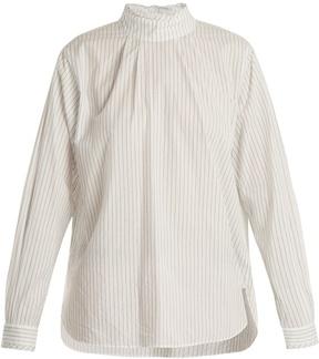 Chimala Striped high-neck cotton shirt