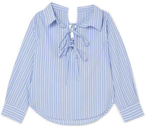 Clu Off-the-shoulder Striped Cotton And Tencel-blend Shirt - Blue