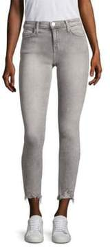 Current/Elliott Stiletto Distressed Hem Acid-Wash Skinny Jeans