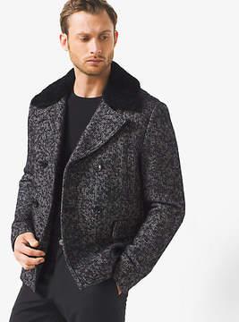 Michael Kors Herringbone Wool-Tweed Peacoat