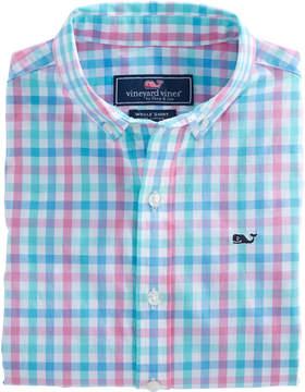 Vineyard Vines Boys Cattail Check Whale Shirt