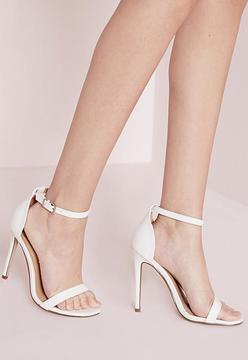 Missguided Barely There Strappy Heeled Sandals White Croc
