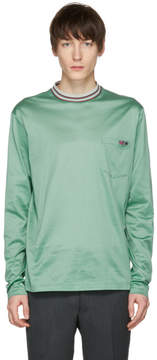 Lanvin Green Long Sleeve Multicolor Mock Neck T-Shirt