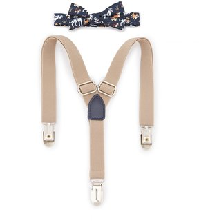 Starting Out Baby Boys Puppy-Print Bow Tie & Suspenders Set