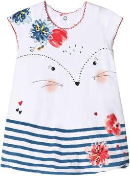 Catimini White Cat Face and Floral Bubble Hem Dress
