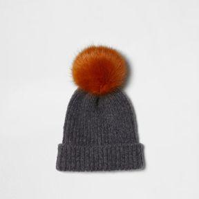 River Island Womens Light grey faux fur bobble beanie hat
