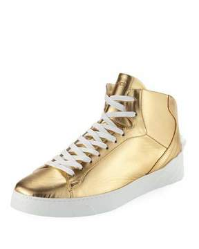 Versace Men's Metallic Leather High-Top Sneakers with Medusa