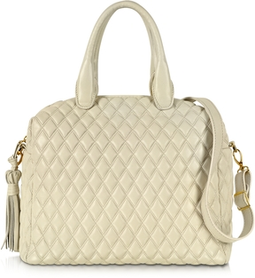 Fontanelli Ivory Quilted Leather Satchel