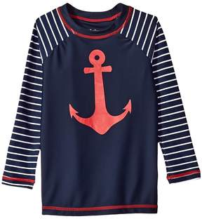 Hatley Sea Anchors Long Sleeve Rashguard Boy's Swimwear