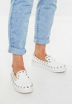Missguided White Studded Slip On Sneakers
