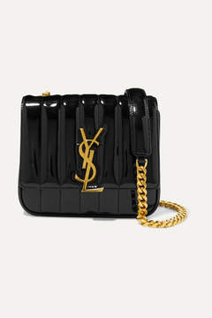 Saint Laurent Vicky Small Quilted Patent-leather Shoulder Bag - Black