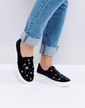 New Look Velvet Planet Embroidered Slip On Sneaker
