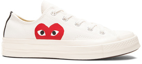 Comme des Garcons Converse Large Emblem Low Top Canvas Sneakers in White.