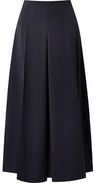 Alexander McQueen Cropped Pleated Wool-crepe Wide-leg Pants - Midnight blue