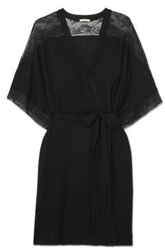 Eberjey Adora Lace-trimmed Stretch-modal Jersey Robe - Black