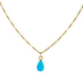 Christian Dior 18K Turquoise & Diamond Pendant Necklace