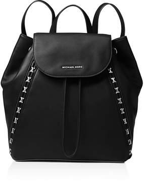 MICHAEL Michael Kors Sadie Medium Leather Backpack - BLACK/SILVER - STYLE