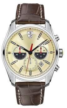Ferrari Mens Scuderia GTB-C Stainless Steel Brown Leather Strap Watch