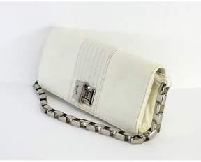 Kooba White Clutch Purse w/ Chain Link Strap