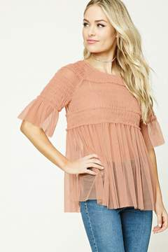 Forever 21 Contemporary Sheer Ruffle Top