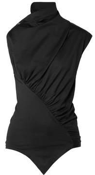 Marques Almeida Marques' Almeida - Asymmetric Ruched Cotton-jersey Top - Black