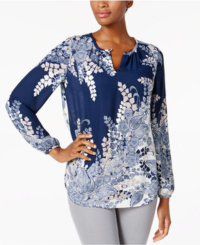Charter Club Printed Keyhole Top, Created for Macy's