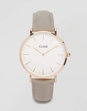Cluse La Boheme Rose Gold & Gray Leather Watch CL18015
