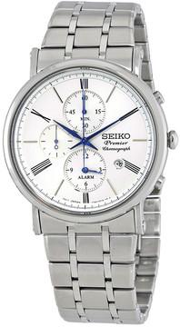 Seiko Premier Alarm Chronograph Silver Dial Men's Watch