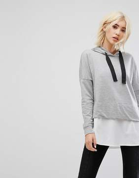Noisy May Hoodie With Shirting Detail