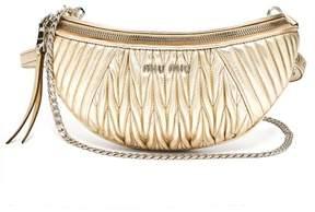 Miu Miu Mattelasse Quilted Leather Belt Bag - Womens - Gold