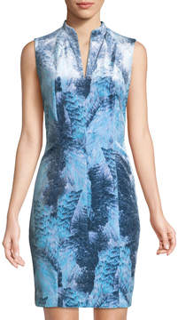 T Tahari Printed Velvet Mini Dress