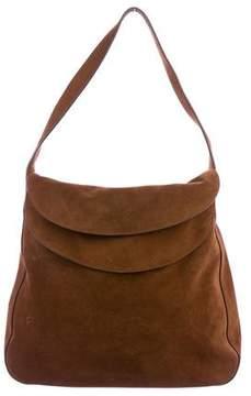 Prada 2015 Double Flap Suede Shoulder Bag