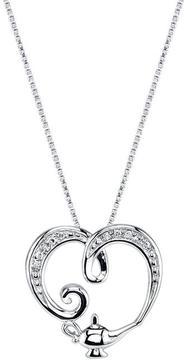 Disney Sterling Silver Aladdin Genie Lamp Heart Pendant with Diamond Accents