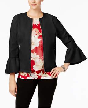 Alfani Faux-Leather Ruffle-Sleeve Coat, Created for Macy's