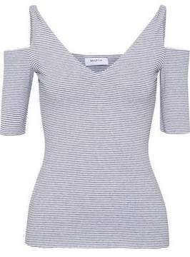 Bailey 44 Battlement Cold-Shoulder Striped Stretch-Jersey Top