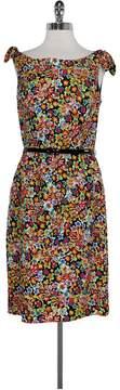 David Meister MultiColor Floral Dress w/ Belt