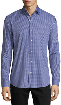 Neiman Marcus Gingham Long-Sleeve Sport Shirt, Light Blue