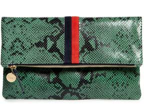 Clare Vivier Snake Embossed Leather Foldover Clutch