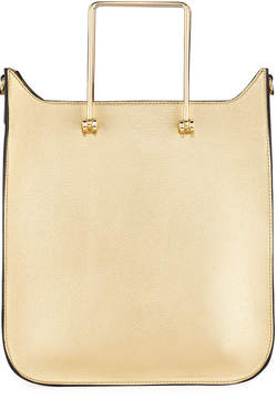 Neiman Marcus Erin Metallic Faux-Leather Satchel Bag