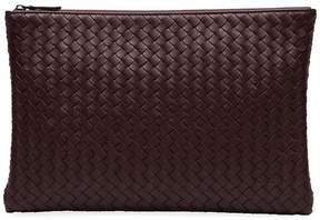 Bottega Veneta burgundy red large woven leather pouch